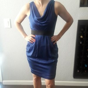 H&M blue dress with black belt